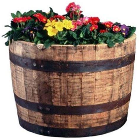 whiskey barrel planter 25 in dia oak whiskey barrel planter b100 the home depot