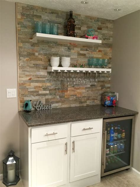 Basement Bar Refrigerator by Small Bar With Lowes Desert Quartz Ledge