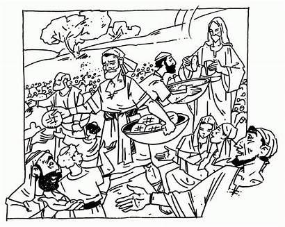 Coloring 5000 Jesus Feeds Pages Feeding Thousand