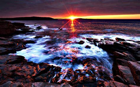 Background Desktop by Sunset At Acadia National Park Maine Desktop Background