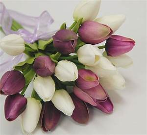 1x Latex real touch purple white tulip tulips wedding ...