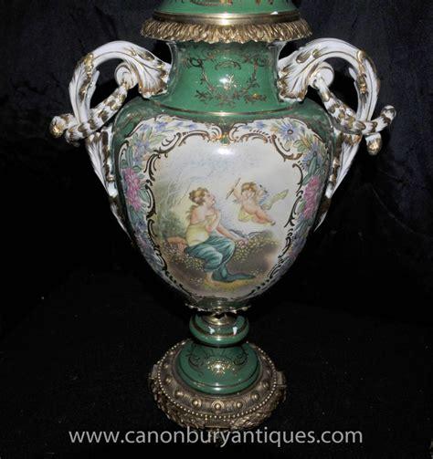 pair french sevres porcelain cherub vases amphora urns