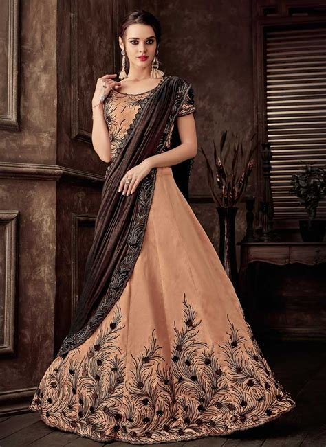 Contrast contrast blouse for pink saree contrast blouse designs contrast colour combination contrast colour contrast blouse for. Buy Coffee Brown and Peach Beads Work Designer Lehenga Style Saree Online