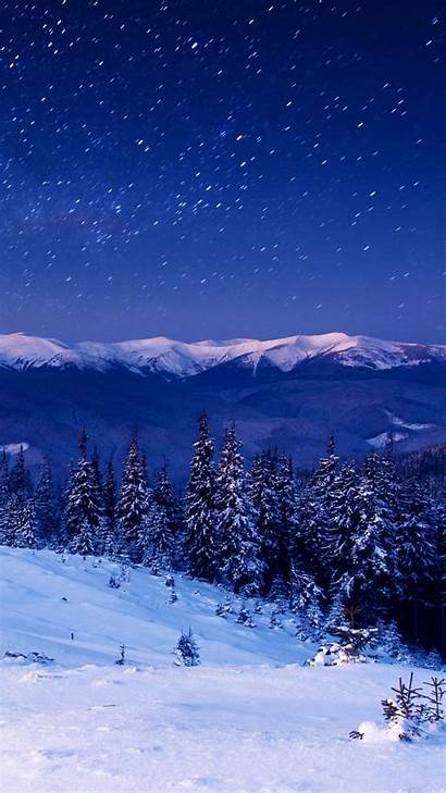 Forest Night Iphone Trees Mountains Star Winter