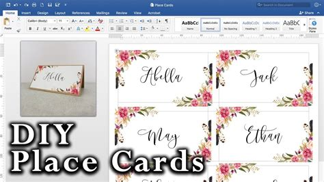 diy place cards  mail merge  ms word