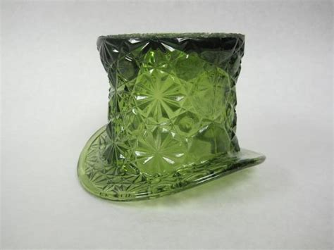 items similar  vintage fenton green glass top hat candle