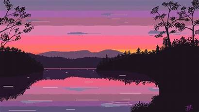 Pixel Background Wallpapers Iphone Morning Lake Aesthetic