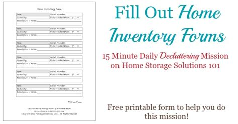 printable home inventory forms    create