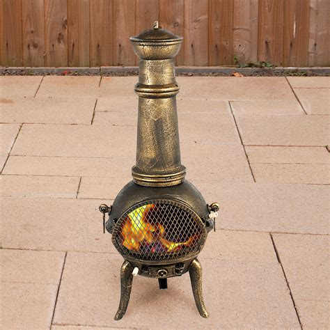 Chiminea On Sale - terra cast iron chiminea bronze 125cm high on sale fast