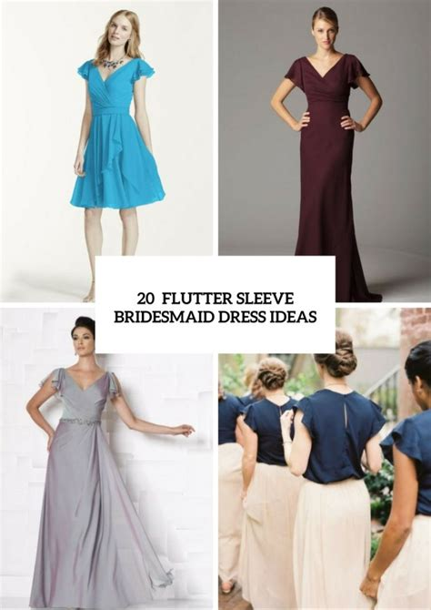 touching flutter sleeve bridesmaid dress ideas