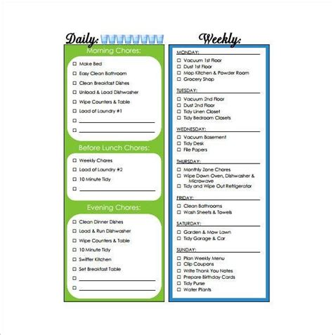 weekly chore chart templates  excel