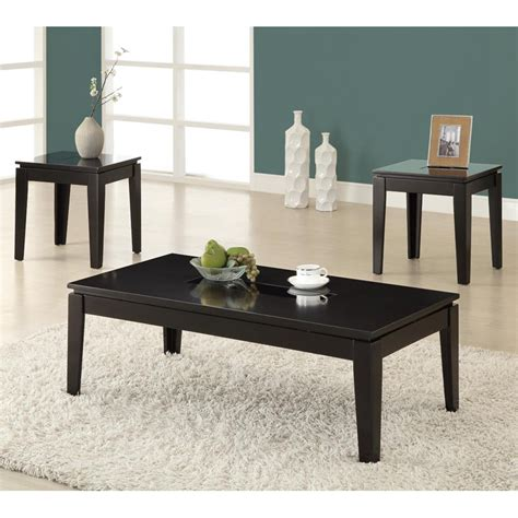 Leather or faux leather can work well in a variety of settings, and they are also easy to maintain. Monarch Promotional Rectangular Glossy Black Wood Coffee Table Set with Wood and Glass Top 3 ...