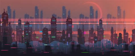 Animated City Wallpaper - futuristic landscapes get a retro look thanks to pixel