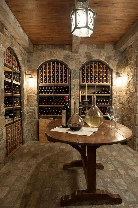 basement wine cellar  arched wine racks