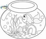 Goldfish Coloring Bowl Pages Fish Drawing Fishbowl Water Printable Colors Realistic Template sketch template