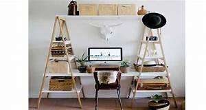 Kitchenette Pour Bureau : bureau r aliser avec des chelles en bois deco cool ~ Premium-room.com Idées de Décoration