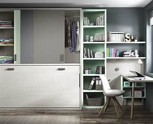 Etagere Chambre Ado : chambre jeune form e d un lit escamotable meubles ros ~ Teatrodelosmanantiales.com Idées de Décoration