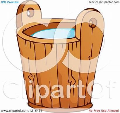 Bucket Water Wooden Clipart Illustration Royalty Visekart
