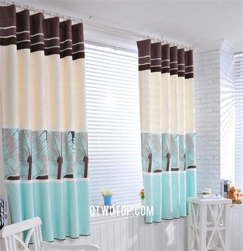teal and beige curtains images