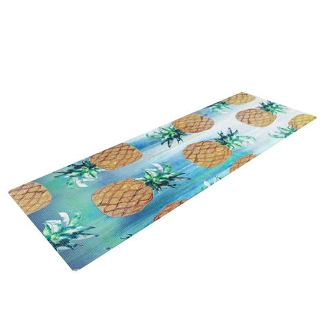 nikki strange pineapple beach blue brown yoga mat
