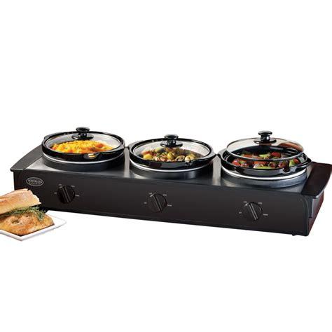 electric cooker food warmer w three 1 5 quart buffet serving pots ebay