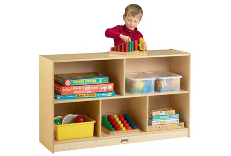 Preschool Mobile Divided Shelf Storage  Plywood Back, 29