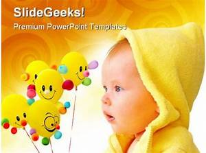 Cute Child With Balloons Baby Powerpoint Templates And