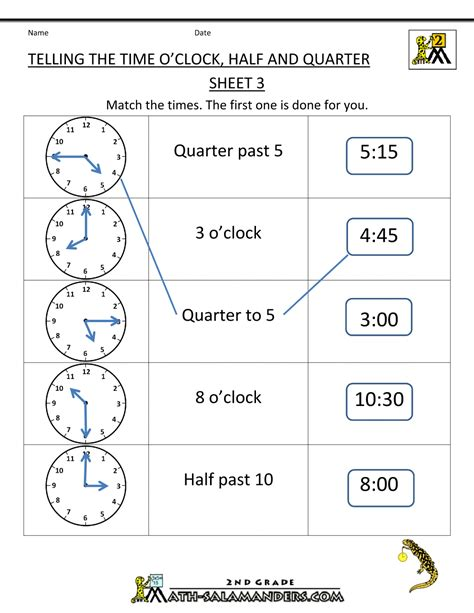 time worksheet o clock quarter and half past
