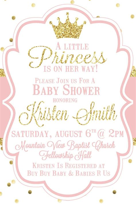 Shower With B by Princess Baby Shower Invitation Pink And Gold Baby