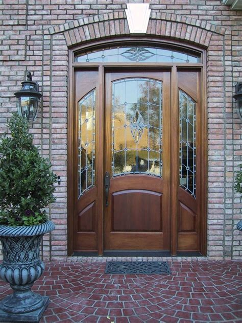 Hand Made Mahogany Stained Glass Door Charlotte Nc By The