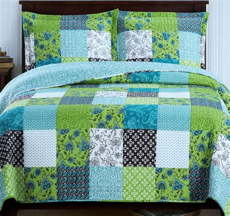 Green Coverlets country cottage patchwork blue green lightweight quilt