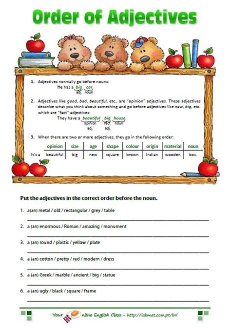 44 best images about adjectives worksheets on