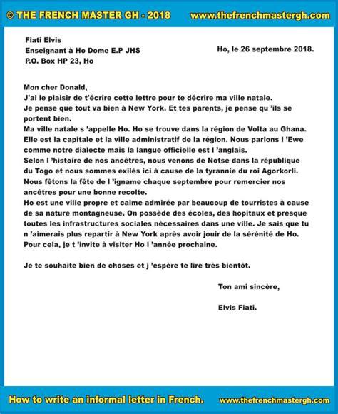 write  informal letter  french la lettre