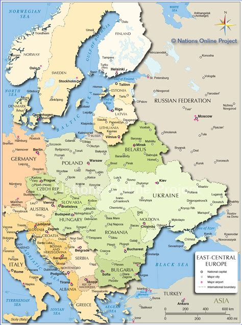 political map  central  eastern europe nations