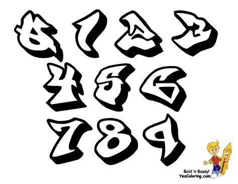 Grafiti Angka : Free Graffiti Bubble Numbers Coloring Pages
