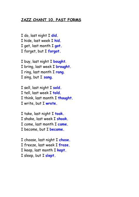 jazz chant irregular verbs