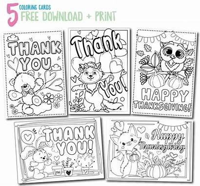Cards Thank Printable Coloring Thankyou