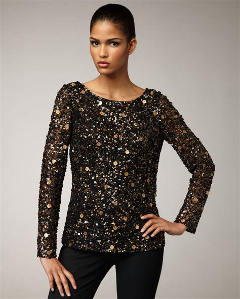 sequin blouses aidan mattox sleeve sequin blouse in black lyst