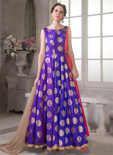 buy bollywood vogue indowestern gown sequins zari