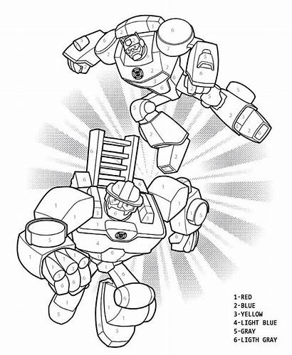 Bots Rescue Coloring Transformers Pages Numbers Sheet