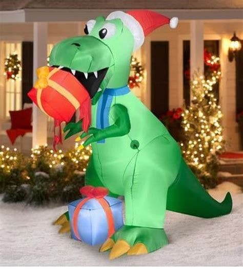 large blow up christmas decorations prop 7 5 t rex airblown outdoor yard decoration santa hat home garden