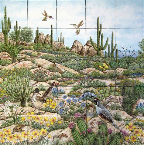 desert scenery wildlife decorative painted tile murals