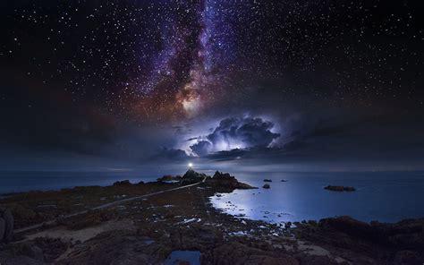 Wallpaper Landscape Sea Galaxy Water Nature Sky