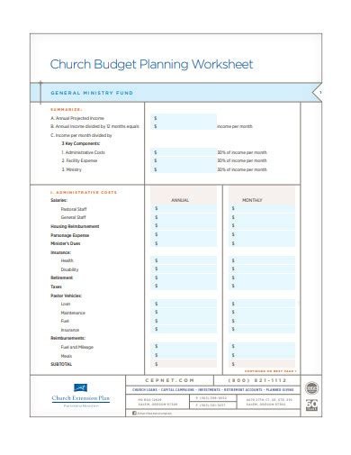 church budget examples templates