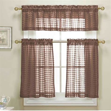 piece brown sheer kitchen curtain set woven check