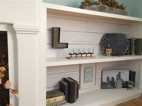 faux shiplap fireplace  custom shelves