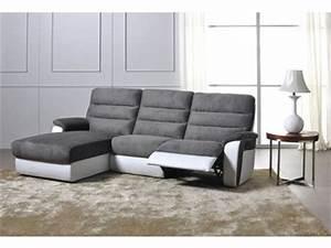 canape d39angle gauche relax electrique biaritz aruba gris With tapis ethnique avec canapé relax 2 5 places