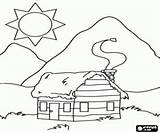 Coloring Cabin Mountain Log Pages Cabins Sketch Template Bergen Printable Woods Draw sketch template