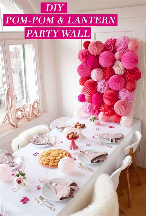 DIY Party Wall | Pom-Poms and Paper Lanterns make quite ...