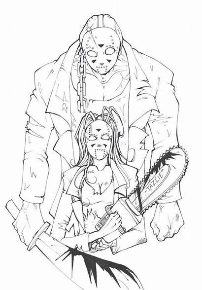 Jason Horror Voorhees Coloring Drawing Vorhees Friday